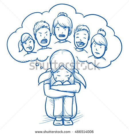 Drawn sad doodle Around Hand girl floor thought