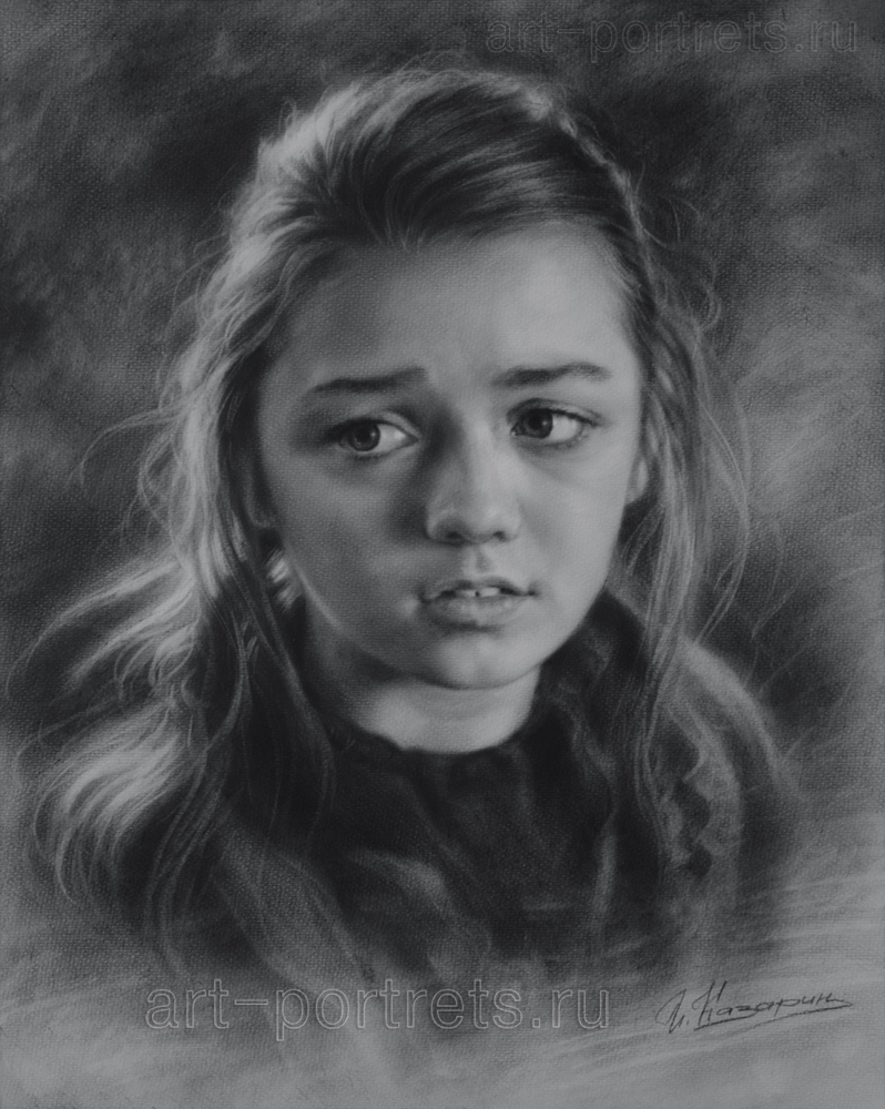 Drawn portrait black and white Young drawing girl Portraits by