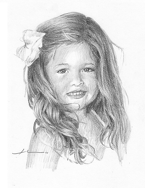 Drawn little girl teenager By Theuer hair