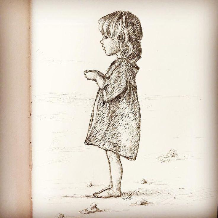 Drawn little girl teenager #kiddrawing ideas Pinterest Little #kidsillustration