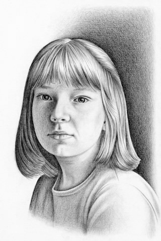 Drawn portrait pencil shading Young Girl Drawing pencil a