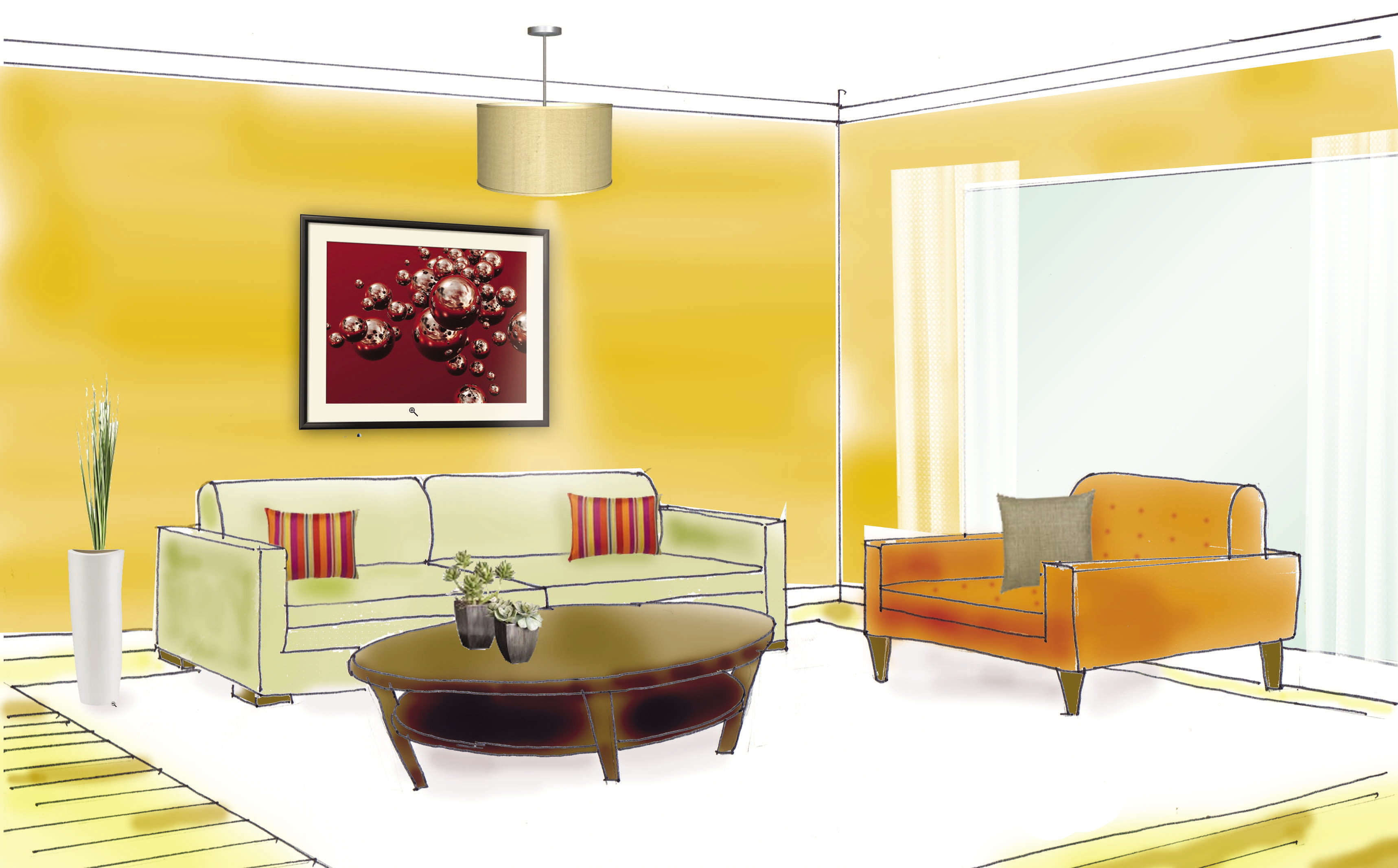 Drawn living room Sketches rendered drawn This Hangzhou