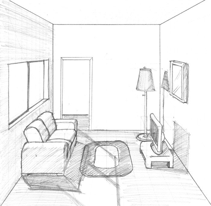 Drawn living room Perspective A To room In