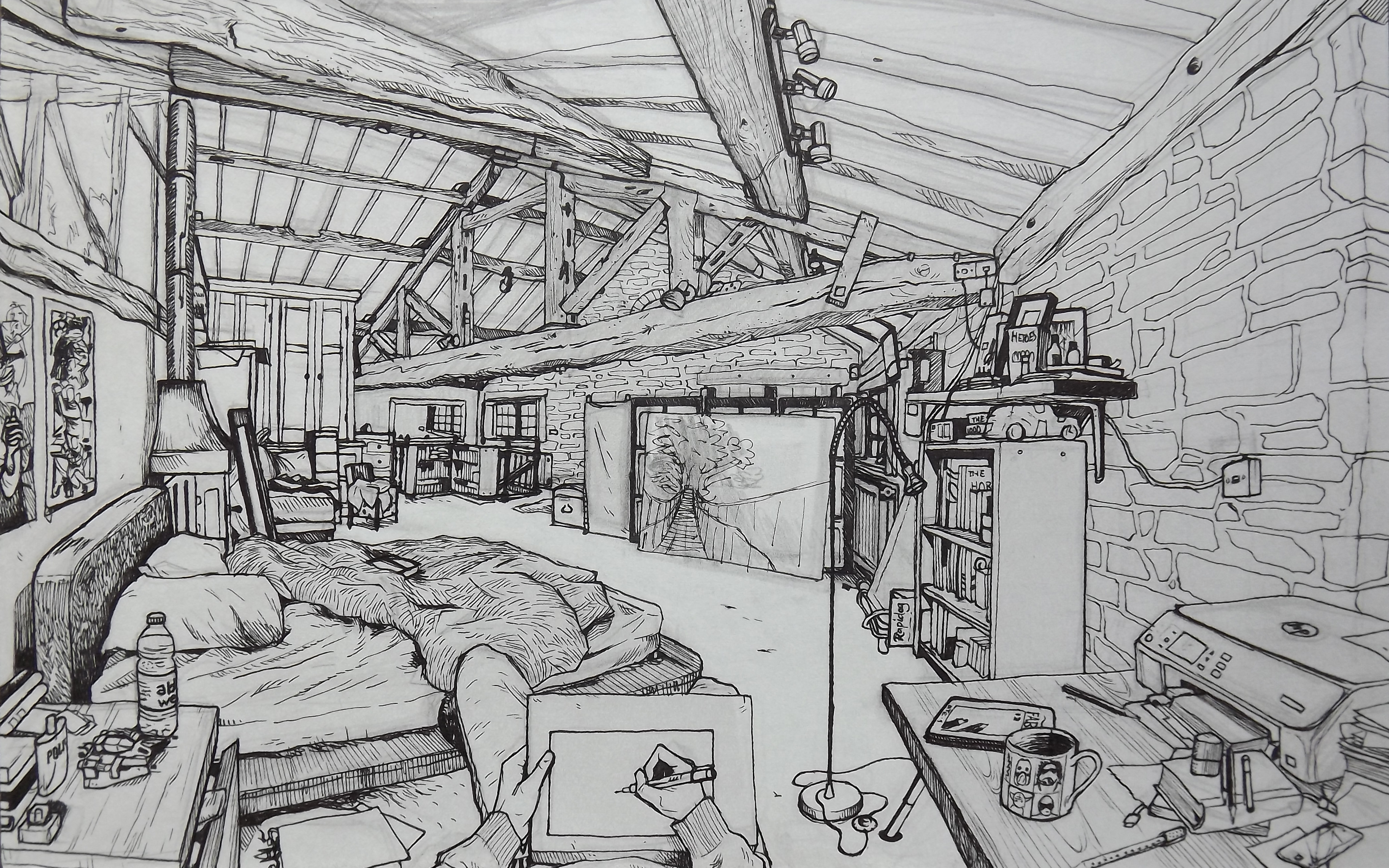 Drawn living room My drawing drawing and Bedroom