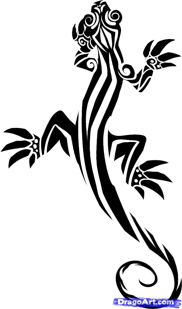 Drawn reptile tribal Lizard Step Step a Lizard