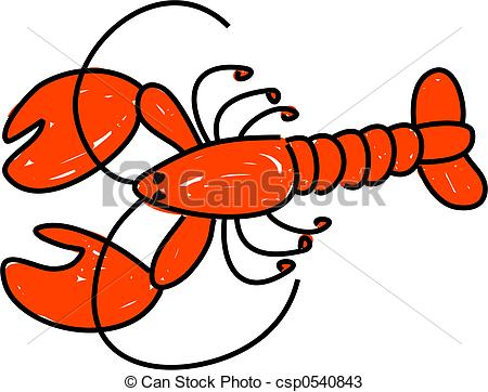 Drawn lobster Lobster red white isolated on