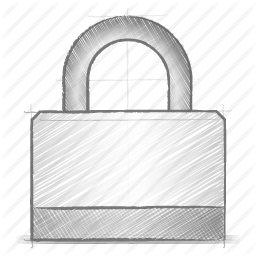 Drawn lock Icon Engineering drawn lock sketch