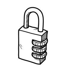 Drawn lock With Search doodle of a