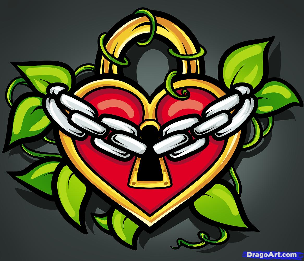 Drawn hearts lock Drawn lock tattoo Cool heart