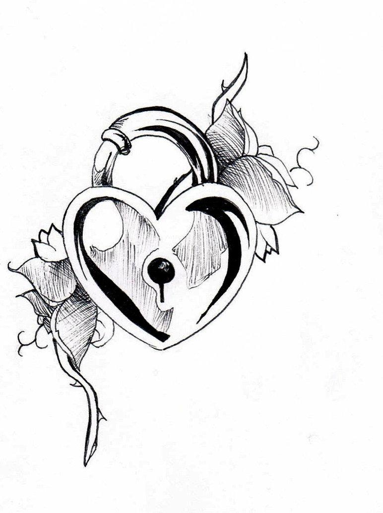 Drawn hearts lock  Heart Tattoos