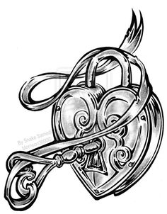 Drawn hearts lock LOVE Tattoo on instead Locket