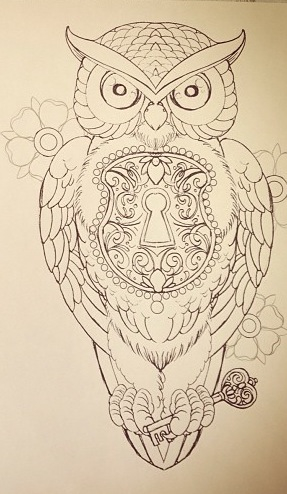 Drawn hearts lock Owl key drawing with and