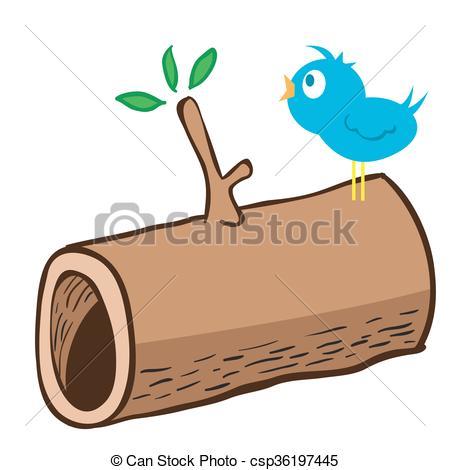 Drawn log Wood of cartoon  on