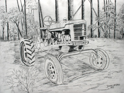 Drawn tractor Drawing fine farm and Ink