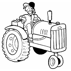 Drawn tractor Coloring Top color Printable The