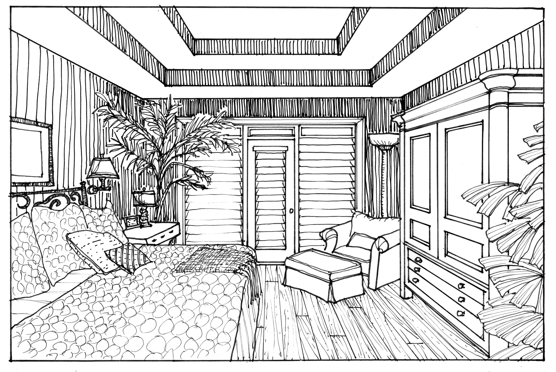 Drawn bedroom perspective + hand Rendering Drawing Bedroom