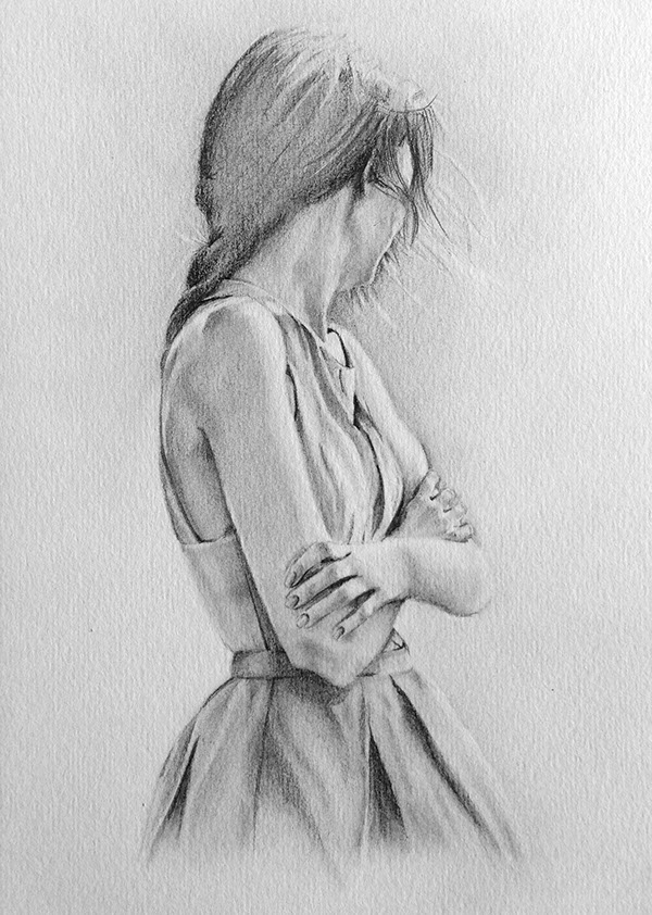 Drawn lonely By Drawing Graphite Pencil Girl