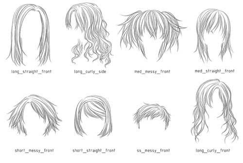 Drawn long hair Hair 200+ photoshop Hair Download