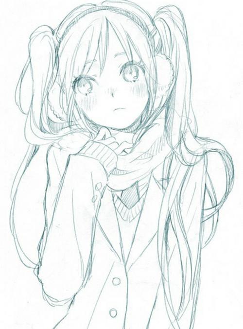 Drawn scarf anime Cold Girl more! girl Art