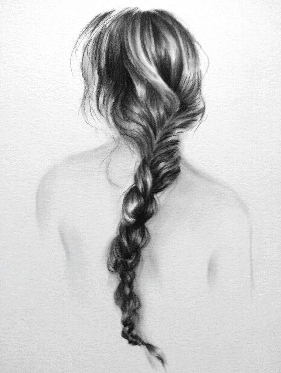 Drawn braid art hair 8X10 Best drawing Pinterest charcoal