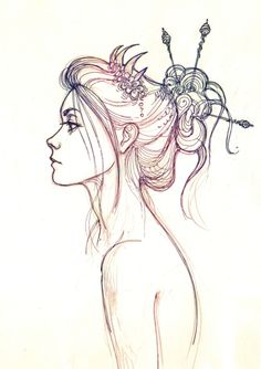 Drawn profile hair FEMALE DESIGN line REFERENCE DRAWING