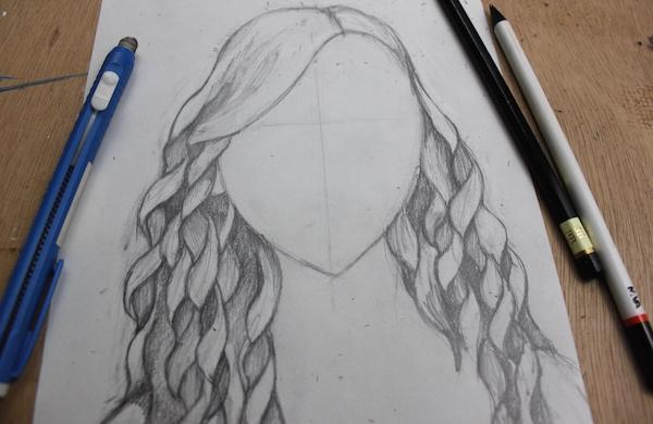 Drawn ribbon curl Step hair Shading curly By