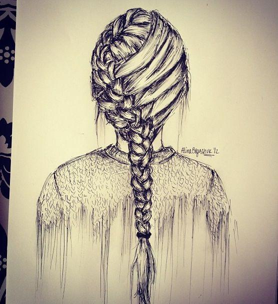 Drawn braid female hair And and hair Pinterest ideas