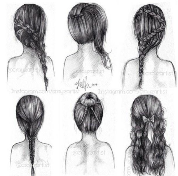 Drawn braid female hair Draws bun drawings Drawing back