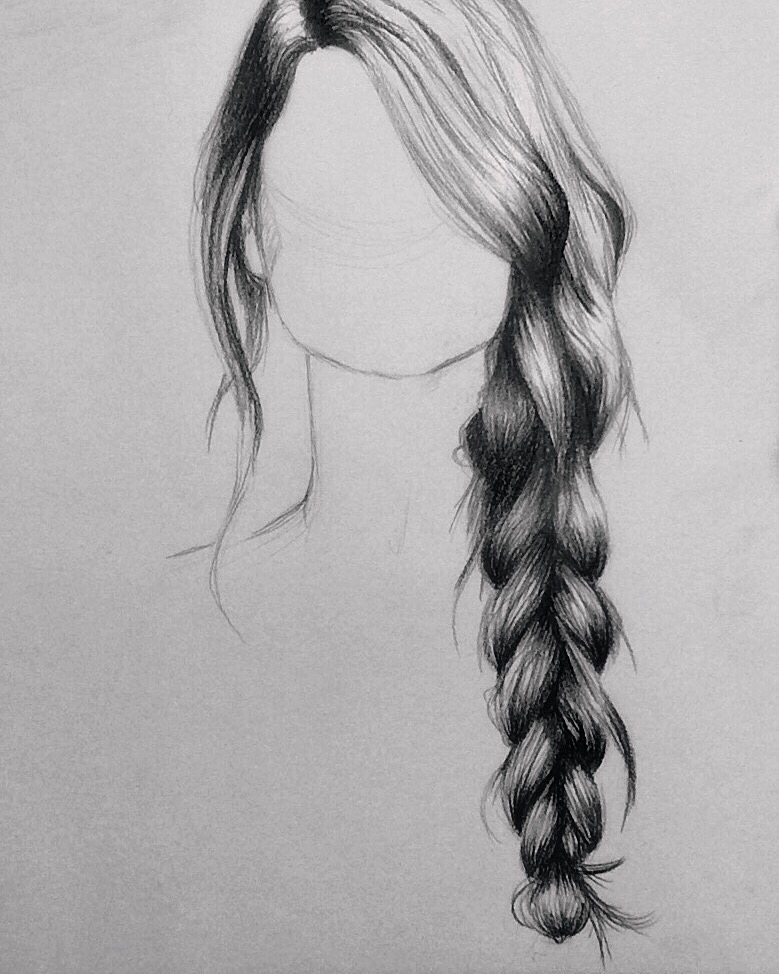 Drawn braid pencil drawing More to with … with