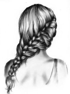 Drawn braid hipster Beautiful drawing girl hair