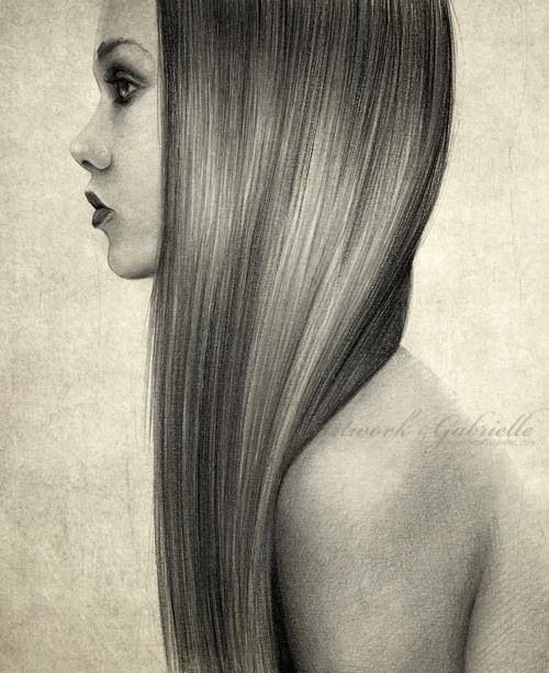 Drawn long hair straight To of Hair lot skill