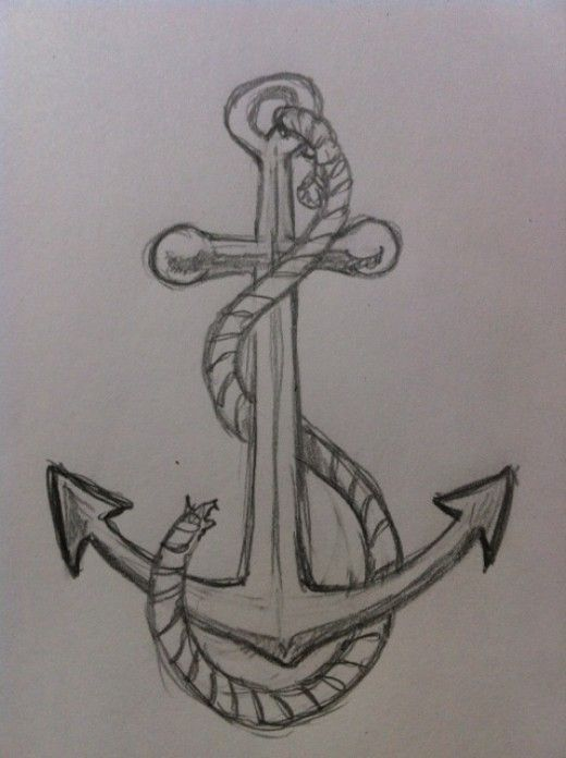 Drawn rope wooden sign Awesome ideas drawings an Anchor