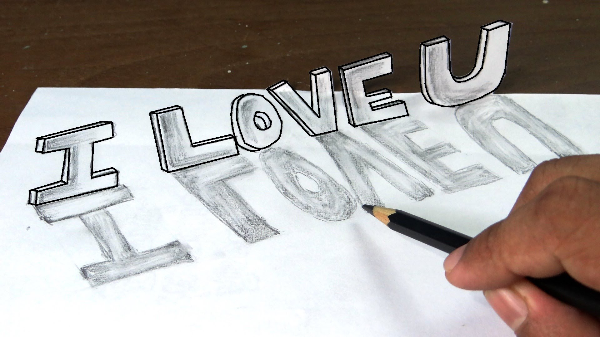 Drawn scenery graffiti 3D with love narration you