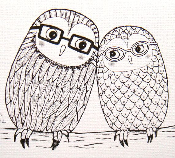 Drawn love Drawing Line Owl Line Illustration