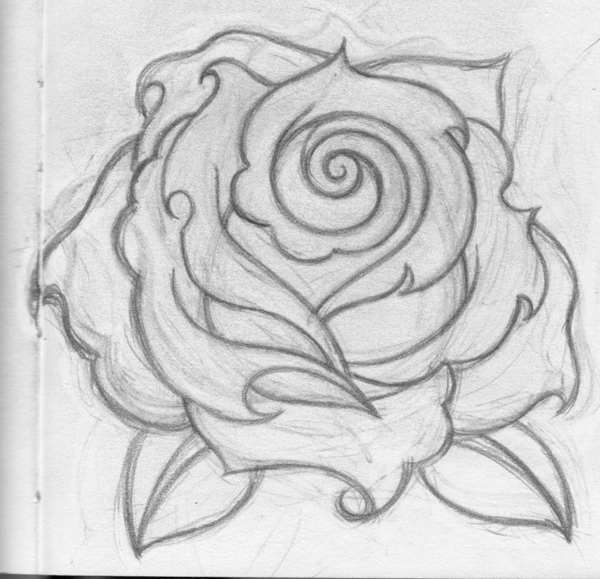 Drawn rose love  Drawing Rose decor Pinterest