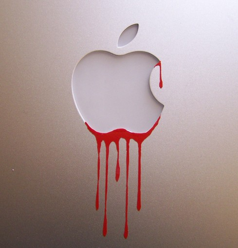Drawn macbook apple fruit Dripping vinyl blood door rubon