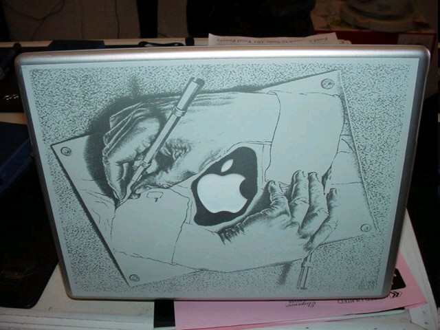 Drawn macbook engraved Artwork Memories with all it