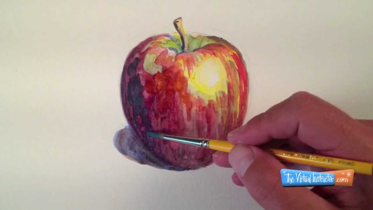 Drawn apple watercolour #13