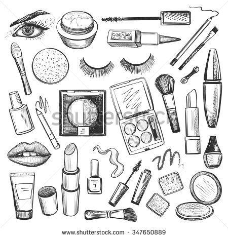 Drawn makeup Mascara polish on icons creams