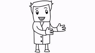 Drawn man  transparent cartoon illustration side