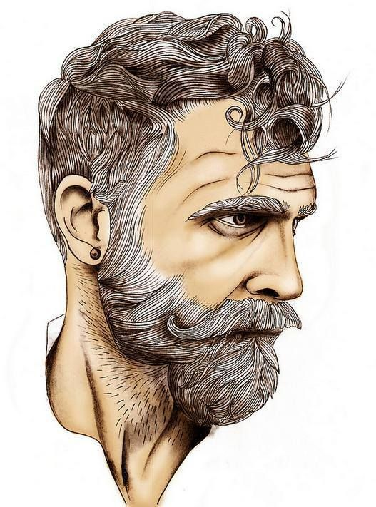 Drawn beard artistic On Bearded Beard Haired 25+