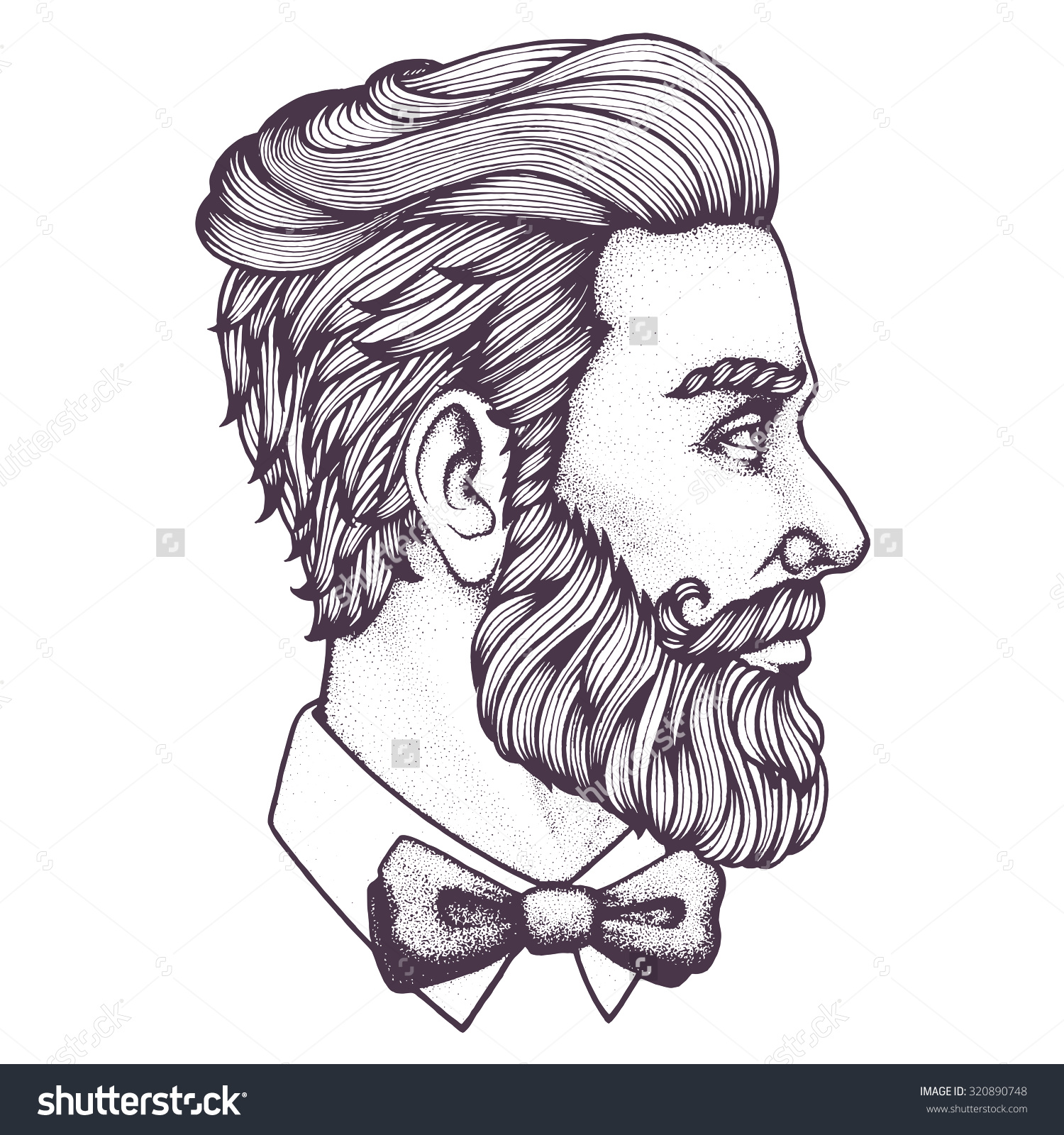 Drawn portrait side Of bearded Hand of Vector