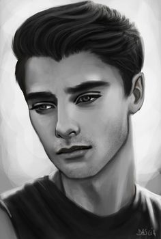 Drawn portrait male hair Realistic drawing without faces White