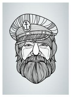 Drawn beard sailor Help style outline (hair think