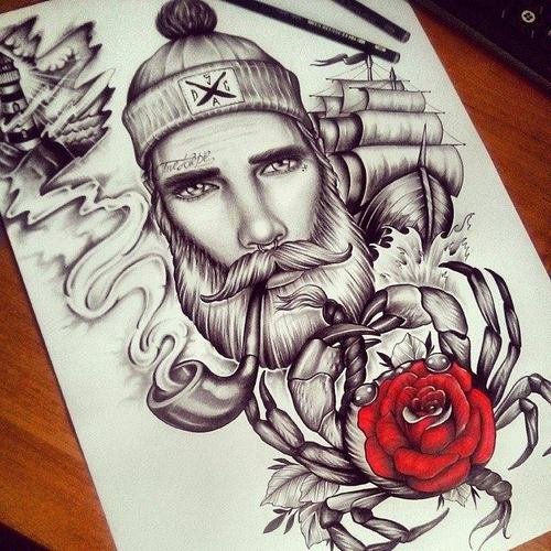 Drawn beard sailor #3