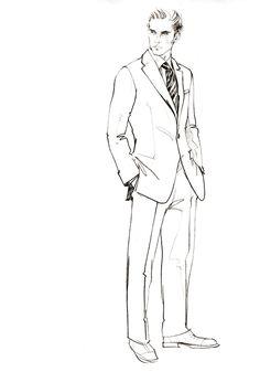 Drawn men suit illustration #2