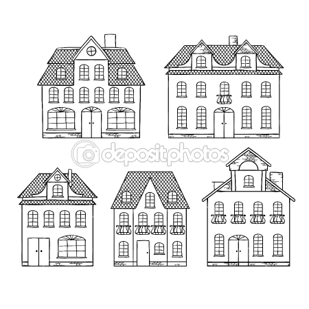 Drawn mansion … Vector — #10456576 isolated