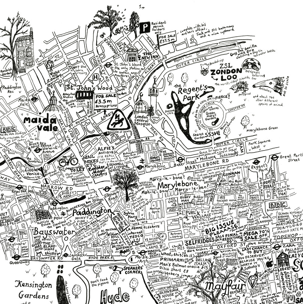 Drawn map Drawn Out London  City