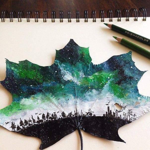 Drawn leaves painting  Wirazka maple Pinterest Drawings