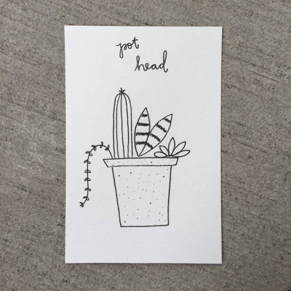 Drawn pot plant pothead Plant Pot // Funny Plants